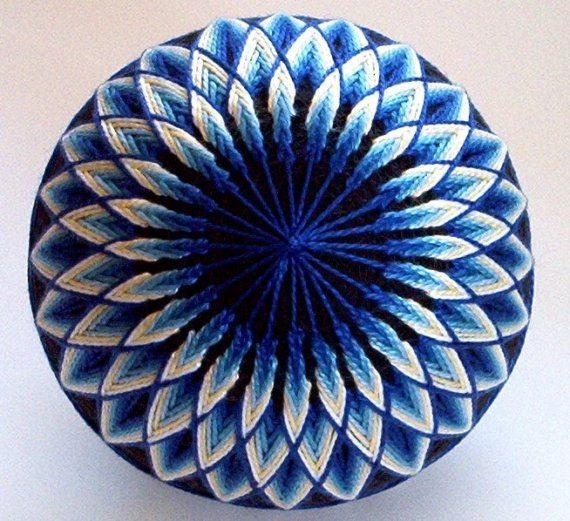 Made to Order japanese temari - decorative ball - hand embroidered decorative thread balls - Blue Sunburst Temari