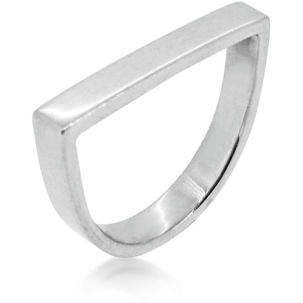 Maya Magal London - Stacking Runway Ring Brushed Silver ($125) ❤ liked on Polyvore featuring jewelry, rings, silver stackable rings, stackable rings, silver jewellery, silver jewelry and stackers jewelry
