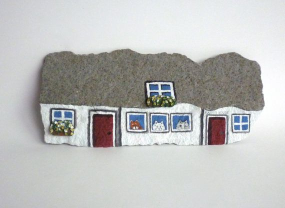 Animal House. Hand Painted Natural Rock Rock Hut. by qvistdesign
