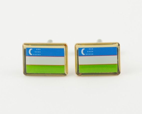 Uzbekistan Flag Cufflinks by LoudCufflinks on Etsy