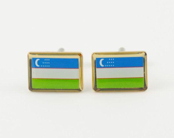 Uzbekistan Flag Cufflinks by LoudCufflinks on Etsy