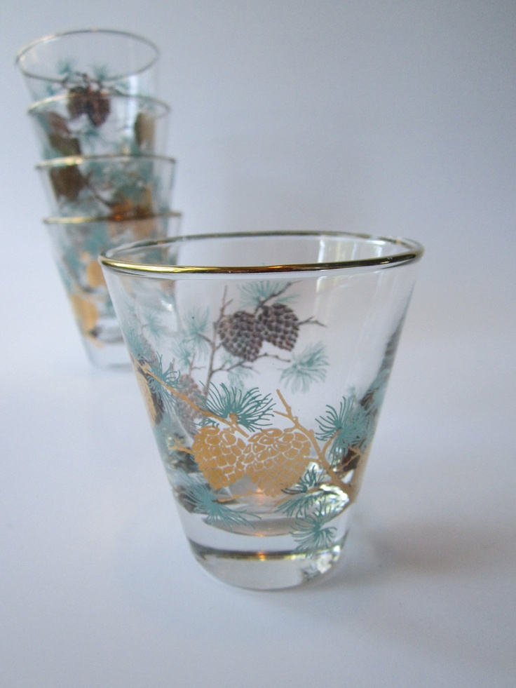 Vintage Libbey Aqua Gold Pine Cone Bar Glasses Set of Five - Mid Century.