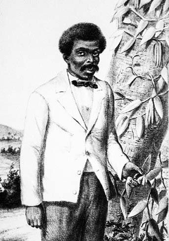 Edmond Albuis, the French slave who discovered the most effective form of Vanilla pollination. [Publisher: Antoine Roussin]