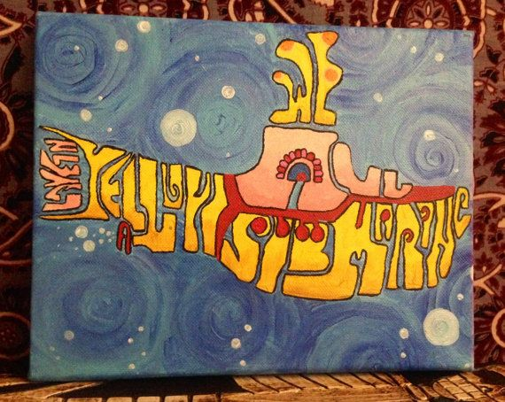 Handpainted We All Live On A Yellow Submarine Acrylic Canvas Painting The Beatles on Etsy, $29.99
