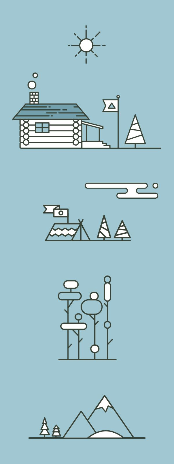 The Great Outdoors by Micah Lindenberger / Flat illustration / #flat