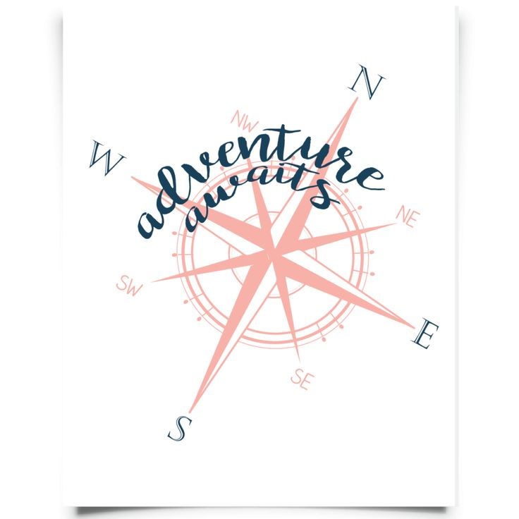More free printable wall art... Love this one with a compass and adventure awaits!