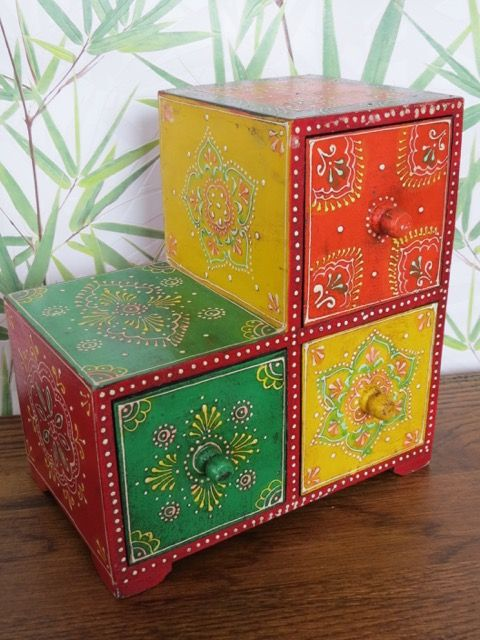 Indian 3 Draw Spice Box: a