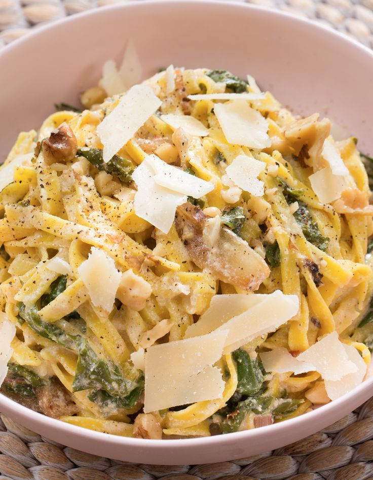 We're tossing the linguine with sautéed chard and caramelized onion in a creamy sauce made with Greek yogurt and a little butter.