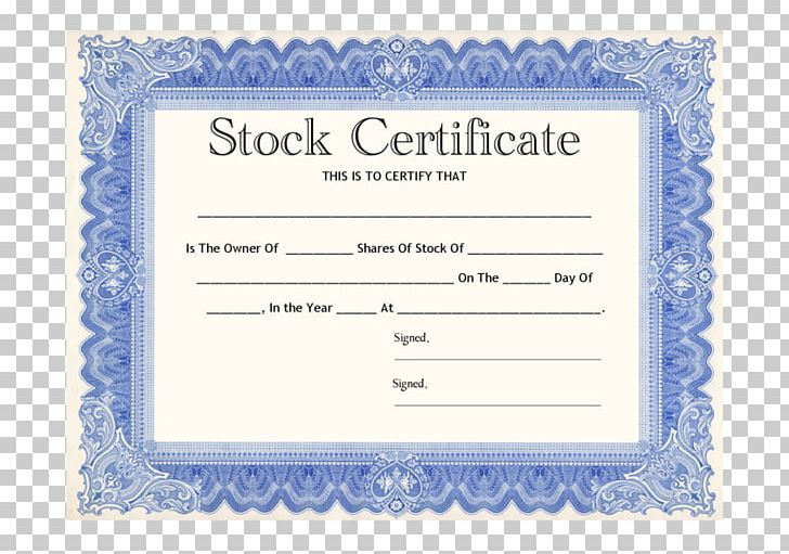 Stock Certificate Share Template Corporation Png Area Blue Brand Capital Gain Company Stock Certificates Certificate Templates Certificate Template