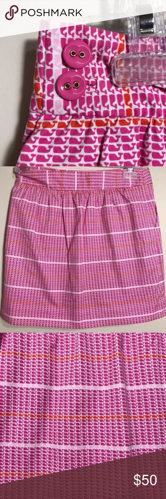 =VINEYARD VINES= MINI WHALE SKIRT 0 NWT PINK/ORANGE/WHITE COTTON SKIRT SIZE 0 WOMEN GIRLS 16 2 BUTTON ON EACH HIP TO FASTEN MINI NO IMPERFECTIONS PREPPY,POLO,BRUNCH,COUNTRY CLUB,WHALE,RESORT,SPRING,SUMMER 111-A Vineyard Vines Skirts Mini