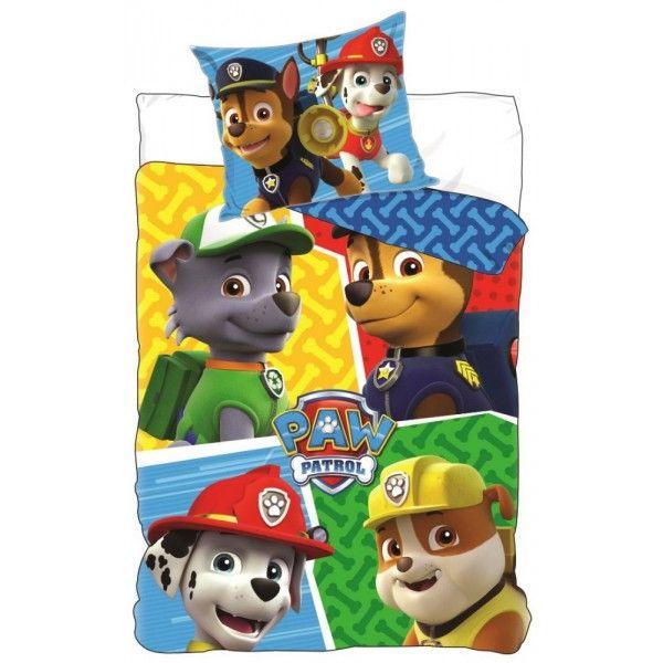 Paw Patrol sengetøj i 100% bomuld og med Chase, Rubble, Marshall og Rockey