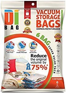 DIBAG - Pack of 6 ( 100X80 cm) Vacuum Storage Space Saver Bags .For Clothes , Duvets, Bedding, Pillows, Curtains & More..