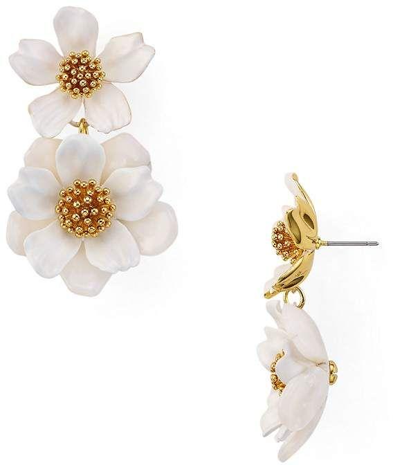 Kate Spade New York Fl Drop Earrings White Gold