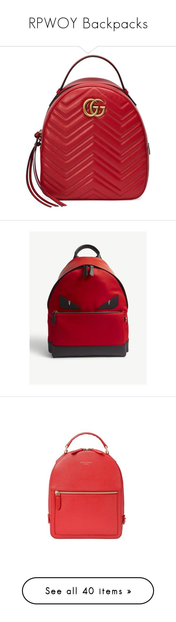 """""""RPWOY Backpacks"""" by mystic-13 on Polyvore featuring bags, backpacks, backpack, red, studded bag, red backpack, studded backpacks, versace bags, versace backpack and gucci bag"""