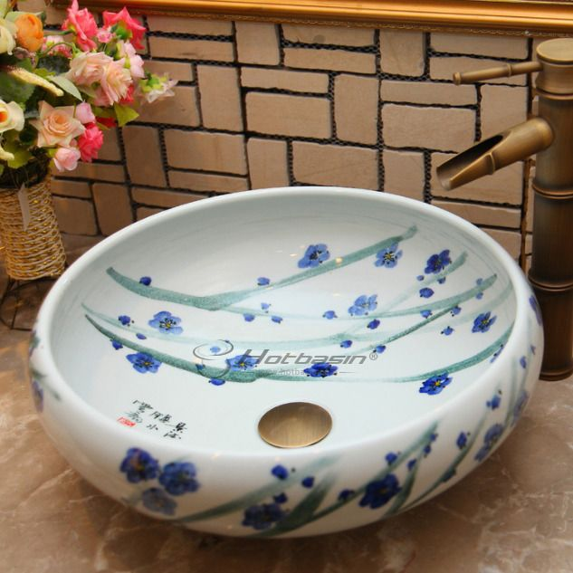 Modern Round Shaped Botanical Pattern Bathroom Sinks For Sale