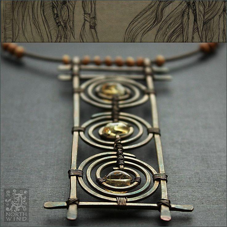 Купить Ожерелье Три Солнца - Рассвет - солнце, цитрин, медь, медное украшение, древность, этно