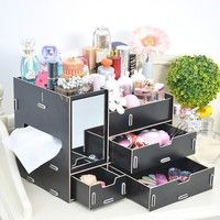 DIY Wooden Cosmetic Storage Box Creative Jewelry Makeup Cosmetic Organizer Drawer for Women