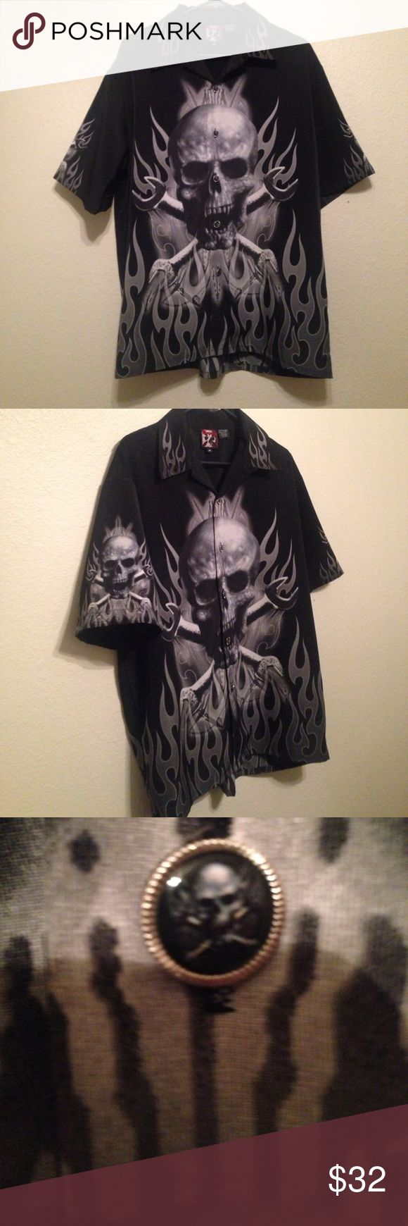 Men's Dragonfly Skull Shirt Great condition! Dragonfly Shirts Casual Button Down Shirts