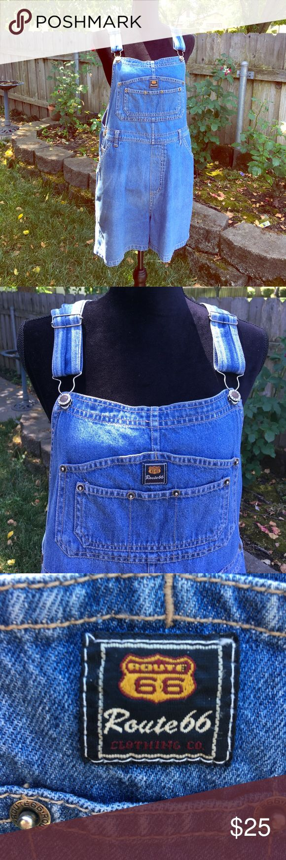 Blue denim shortalls Awesome medium blue lightweight denim shortalls have lots of pockets, a tool loop and belt loops, too if you want to use a belt with them. Logo details on every button and snap, side buttons and adjustable straps. Color is closest to first photo and closeup photos, shade made the color look darker in the other pics.  Also available in white denim, sold separately. Route 66 Jeans Overalls