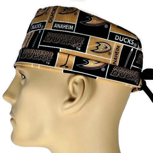 Men's Adjustable Cuffed or Un-Cuffed Surgical Scrub Hat Cap in Anaheim Ducks