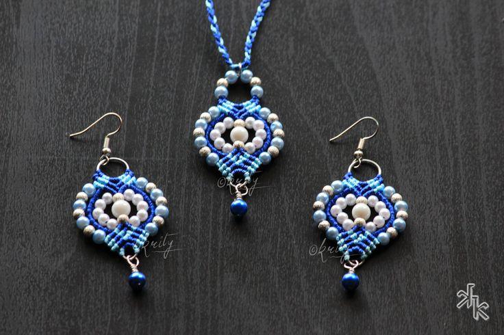 Handmade Macrame earrings and pendent by KritysKrafts by KritysKrafts on Etsy
