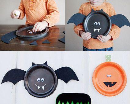 Halloween murcielago hecho con cartulina, un plato de cartón y unos ojos. #decoracion #manualidades #diy #niños