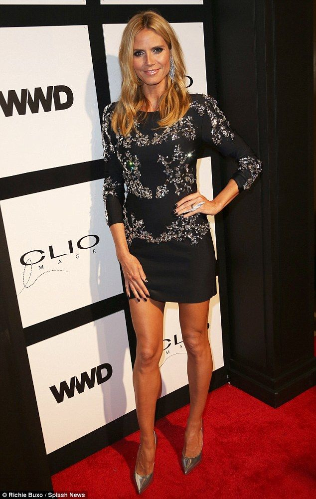 So glam: Heidi teamed the thigh-skimming dress with some gorgeous silver pointed pumps...