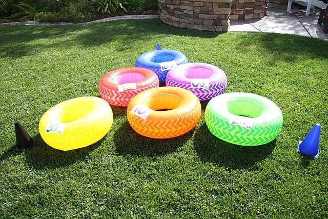inflatable tires for toss game. hot wheels birthday party