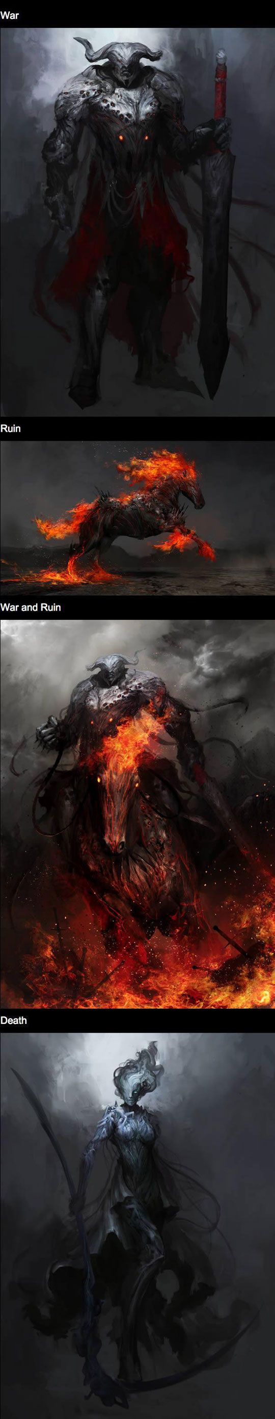 O cavaleiro da guerra montado sobre o cavalo vermelho flamejante da ruína. Sua arma era uma espada, representando o sangue derramado no campo de batalha. Ele traz a guerra.