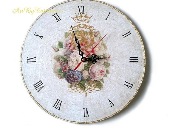 Royal Roses Shabby Chic Decoupage Handmade Wall Clock on vinyl
