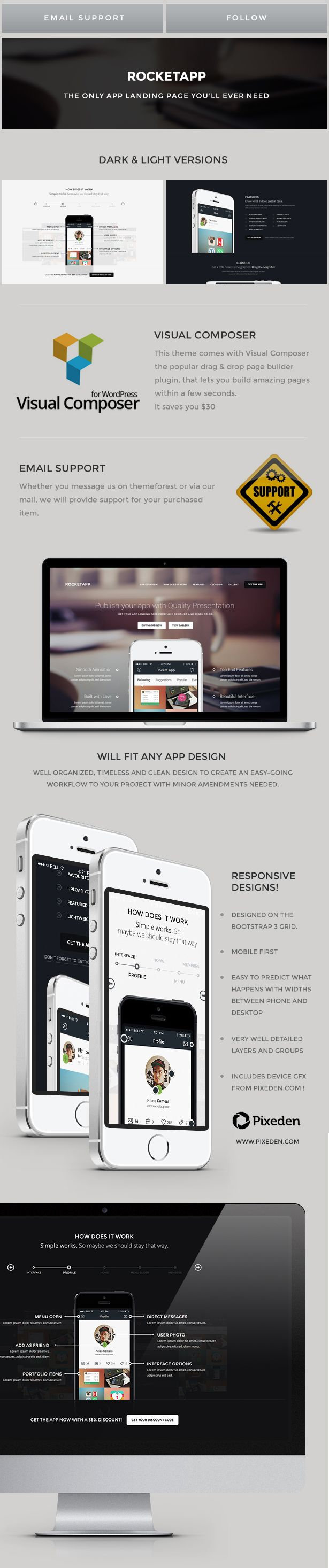 RocketApp is a high quality App Landing WordPress theme that will wow your customers, it has a timeless, spacious design with neutral colour scheme that will fit any kind of app. It is a single pa...