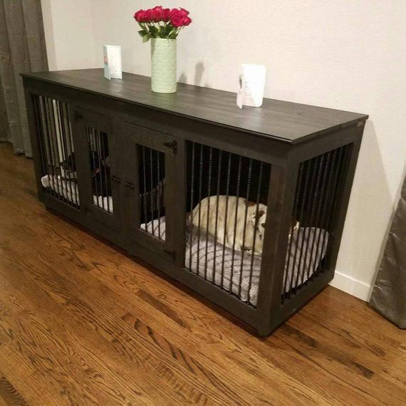 Double Door Dog Kennel Handcrafted Wooden Dog Crate Dog