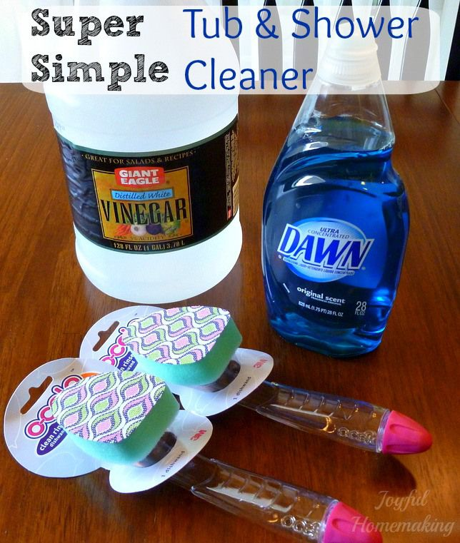 Tub and Shower Cleaner - fill a dish wand with half vinegar and half Dawn dish liquid, keep it handy and use it at bathtime - store it sponge-side-up to prevent leaking.  ;-)