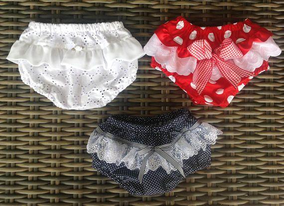 Baby girls ruffle bums diaper covers ruffled pants set of 3