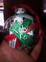 Ornament filled with different sentences about family members.