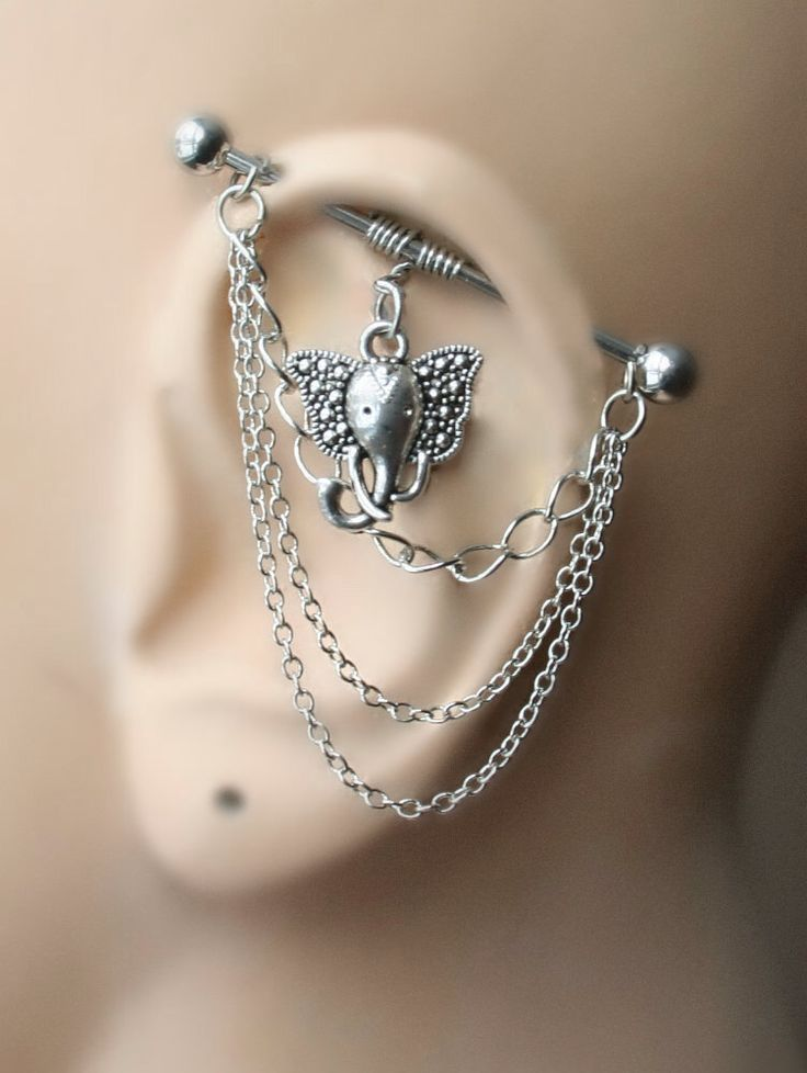 Industrial Barbell with chains, Industrial piercing, Jewelry, Industrial bar earring, Industrial piercing chain, Elephant (m2d) by triballook on Etsy https://www.etsy.com/listing/217884009/industrial-barbell-with-chains