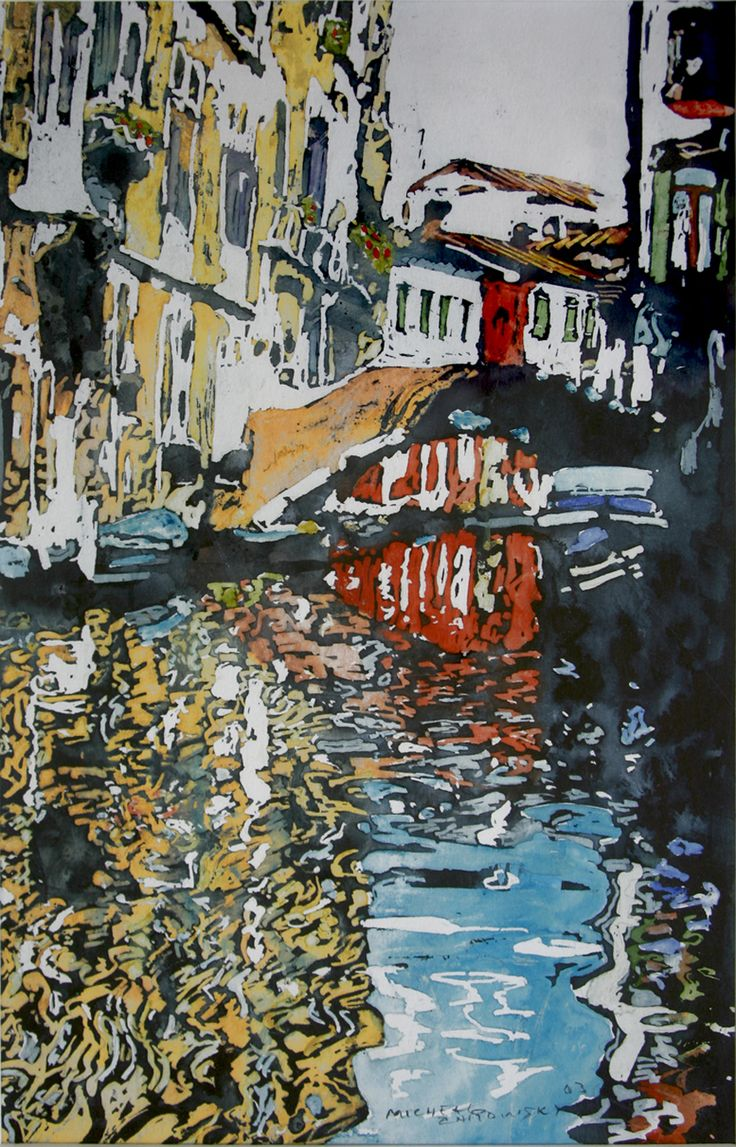 """bend in the canal castello venice 15"""" x 10""""   micheal zarowsky / watercolour on arches paper / available $400.00"""