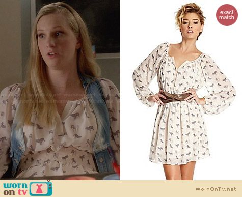 Brittany's zebra print dress on Glee. Outfit Details: http://wornontv.net/28911 #Glee #fashion