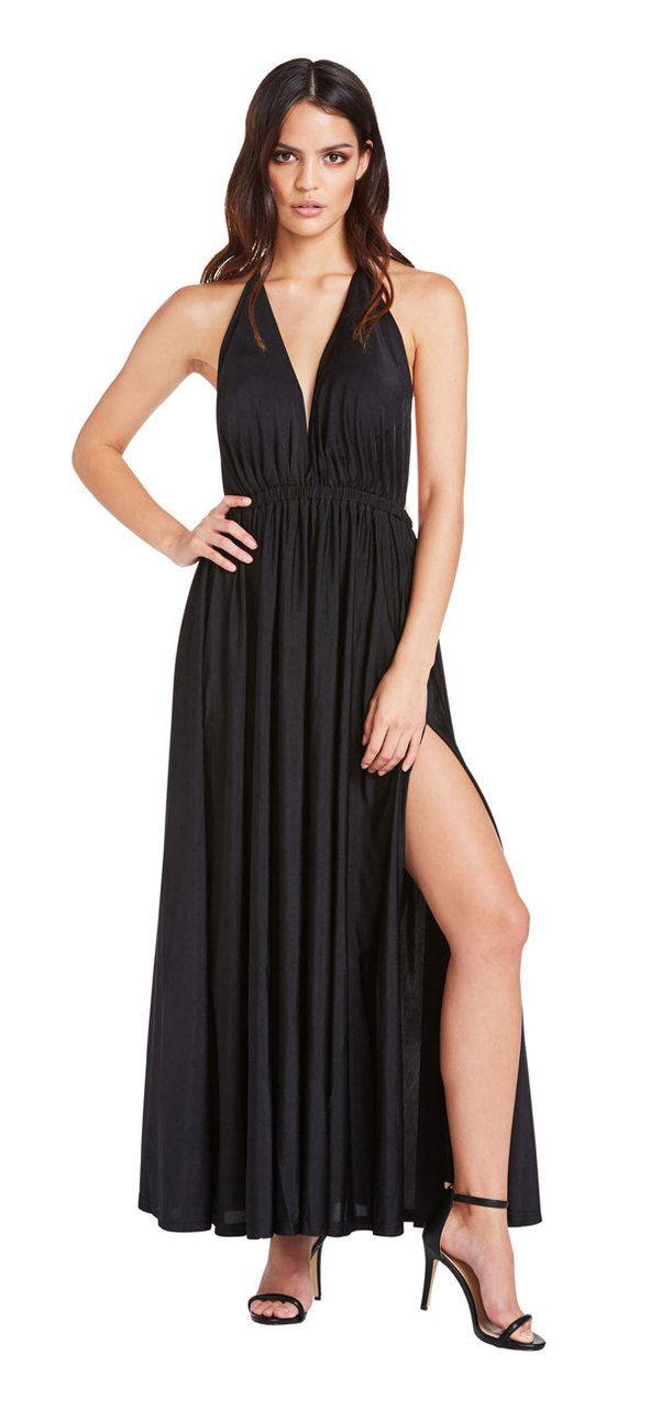 Santorini Double Split Maxi Dress (Black) - Miss G
