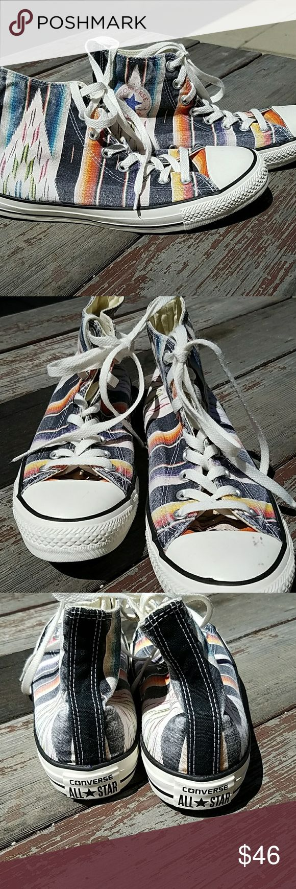 NWOT Converse All Star High Top Blanket Print Converse All Star High Top in an Indian Blanket Print.  These shoes are new and have never been worn, but there are scuff marks on the rubber which come off with a little more energy than I have. Converse Shoes Athletic Shoes