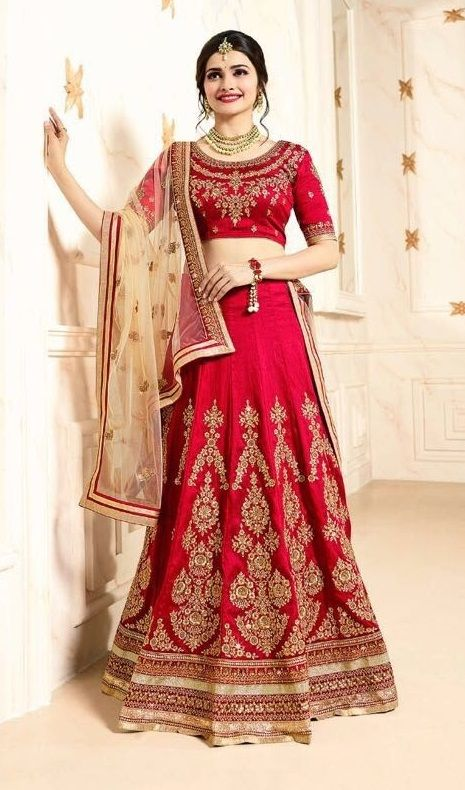 Price @7315.00 INR Colour : Red Top : Silk Lehenga : Silk & Georgette Dupatta :Net Work : Heavy Embroidery
