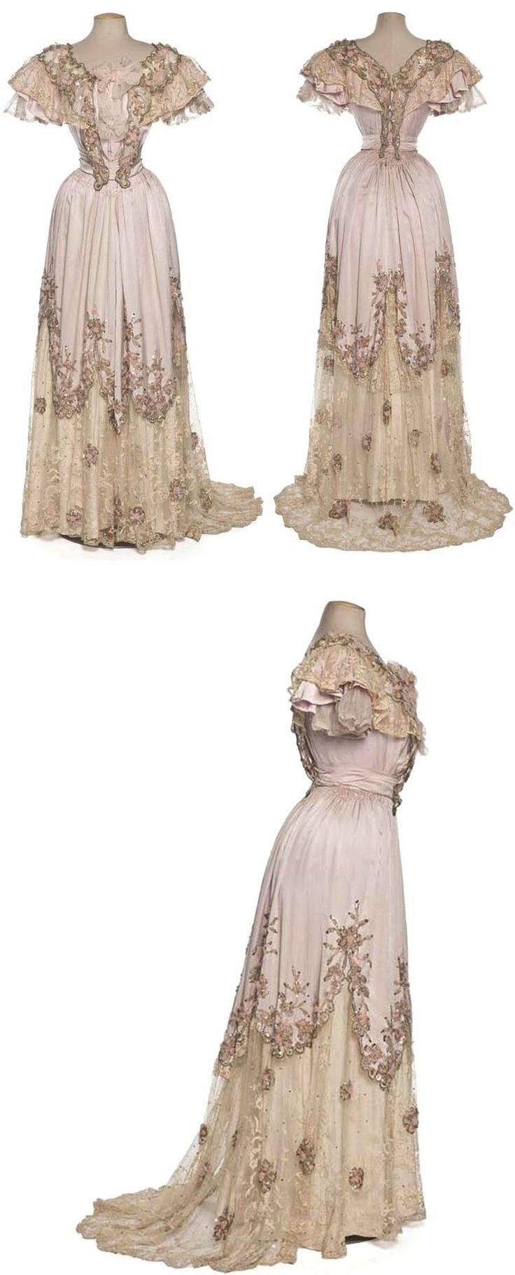 Evening gown, Clergeat, Paris, ca. 1898-1900. Silk charmeuse, embroidery with wool thread and sequins, lace frill, chiffon, and taffeta lining. Les Arts Décoratifs