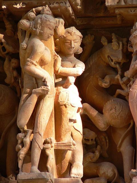 Khajuraho India -hindu temple relief statues ca. 10th C.