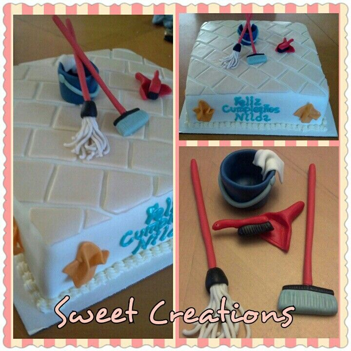 Cleaning Lady Birthday Cake Fondant And Gumpaste Sweet