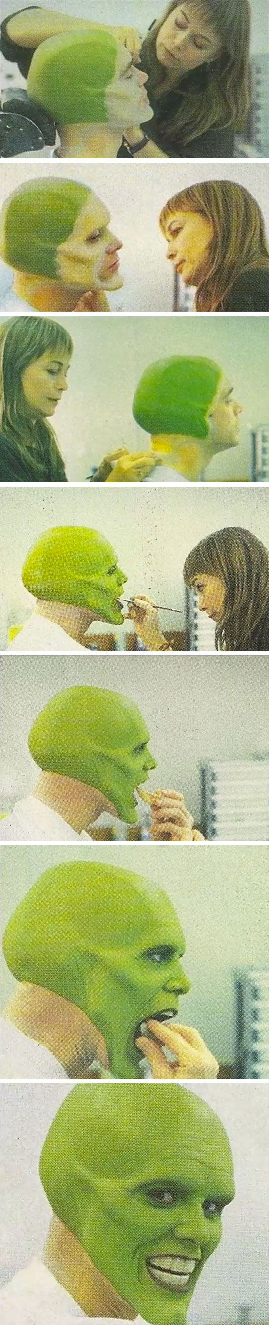 Jim Carrey In The Makeup Chair For 'The Mask' #makeup #artist                                                                                                                                                                                 Mais