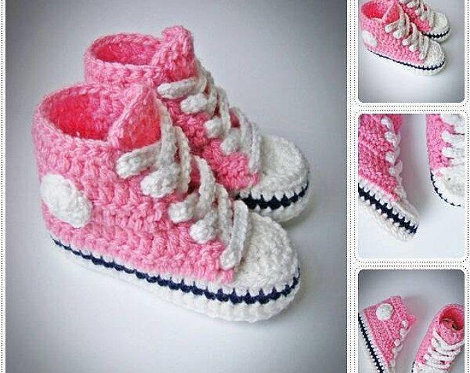 Scarpe da ginnastica bambino, uncinetto bambino Converse, Crochet bambino scarpe da ginnastica rosa, bambino Sneakers, stivali bambino, Baby Girl Sneakers