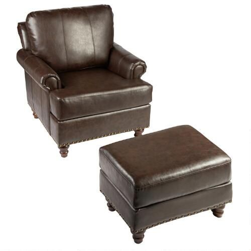 One of my favorite discoveries at ChristmasTreeShops.com: Bonded Leather Library Armchair with Ottoman