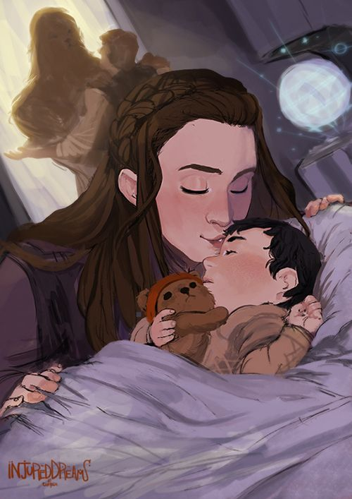"injureddreams: "" ""Coming Home"" Its been an overwhelming two weeks with the new addition to the family. So here is a little something due to all the baby feels. I like to image Leia and Han coming home from a meeting (date) to find an exhausted Ben..."
