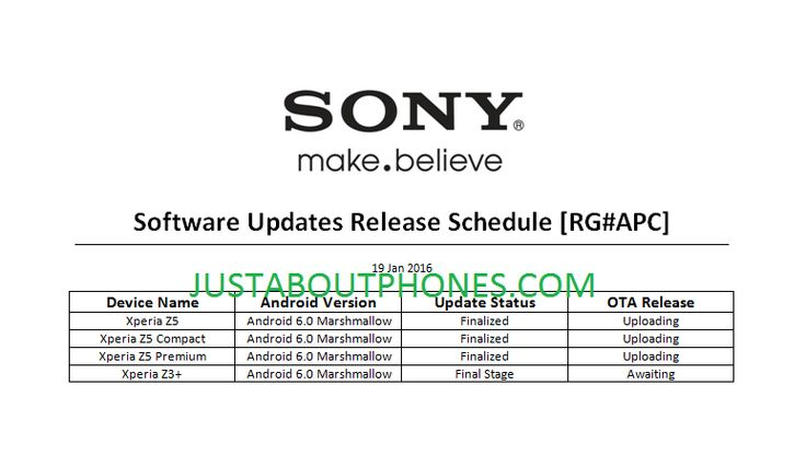 Android Marshamallow in arrivo sulla gamma Sony Xperia Z5 http://www.sapereweb.it/android-marshamallow-in-arrivo-sulla-gamma-sony-xperia-z5/        Sony è alacremente al lavoro sull'aggiornamento ad Android 6.0 Marshmallow tanto atteso dagli utenti di Xperia Z5, Z5 compact, Z5 Premium e Z3+. Nelle ultime ore è saltato in rete un documento che attesta il lavoro di Sony su questoaggiornamentoper i quattro dispositivi sopra citat...