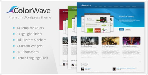 Colorwave– Premium Wordpress Theme   http://themeforest.net/item/colorwave-premium-wordpress-theme/148470?ref=damiamio         Colorwave wordpress theme  Colorwave is a clean, modern and professional template which is perfect for portfolios, companies, agencies, Photographers and even more… Last Update  Sep 10th 2012: Version 1.09      ADD : WP3.4 Compatible     ADD : Custom Formats in the Classic Display Blog – ( Gallery / Video / Audio / Quote )    UPDATE : Timthumb…